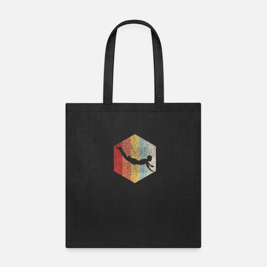 Swim Bags & Backpacks - Swimming Swimmer Diving Retro Gift Vintage - Tote Bag black
