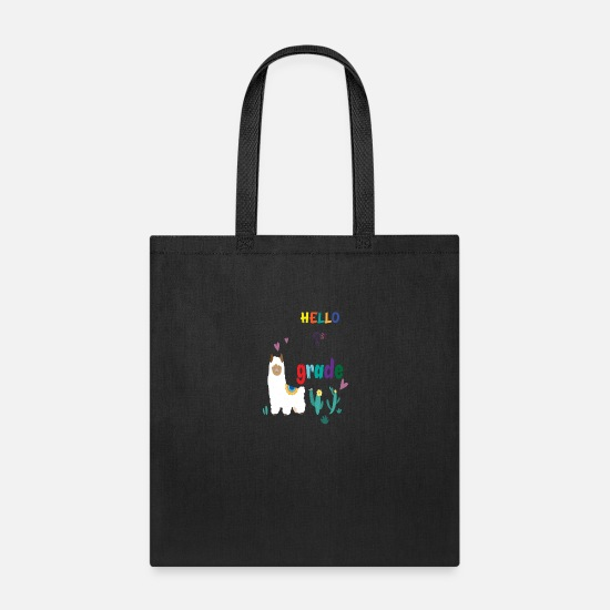 Llama Bags & Backpacks - hello first grade llama - Tote Bag black