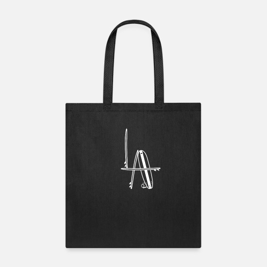 Free Bags & Backpacks - Surfboard LA waves beach sea holiday gift - Tote Bag black