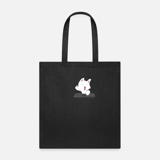 Meow Bags & Backpacks - Cat DJ Mixing Cat Gift - Tote Bag black