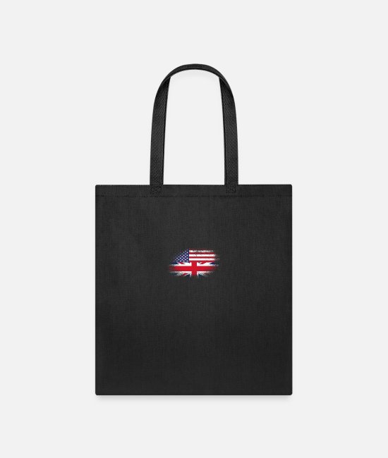 British American Flag Bags & Backpacks - Distressed Half America Half UK Flag Mix - Tote Bag black