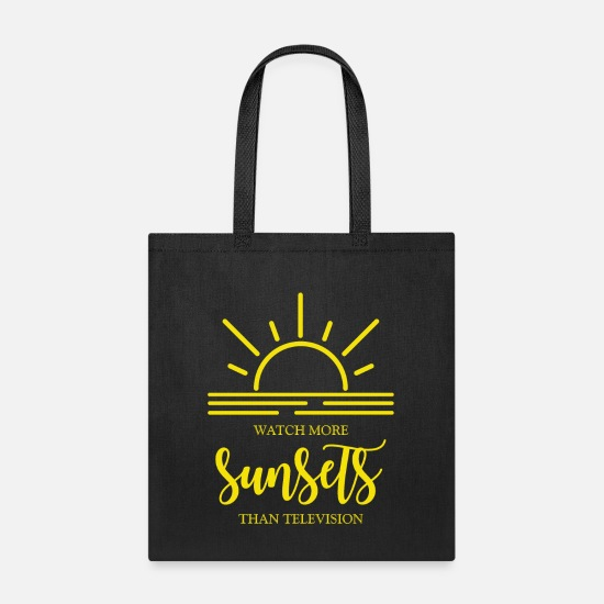 Typography Bags & Backpacks - Watch more sunsets than television. Nature.Explore - Tote Bag black