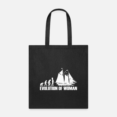 Evolutionary History Sailing Sail Boat Yacht - Evolution of Woman - Tote Bag