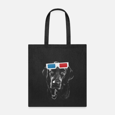 Black Labrador Retriever Dog with 3D glasses - Tote Bag
