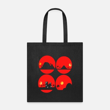 Quadrat Round designs of tropical islans - Tote Bag