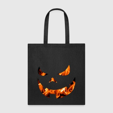 Halloween pumpkin face with fire - Tote Bag