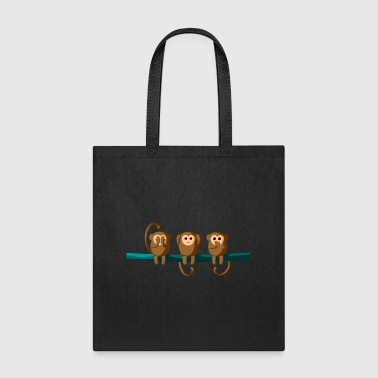 See Hear Speak Monkeys Affen Chimp Auee Simian - Tote Bag