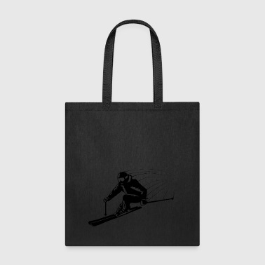 Skiers on the ski slopes in a sporty and fast way - Tote Bag