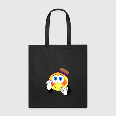Shy smiley face with clown hat present idea - Tote Bag