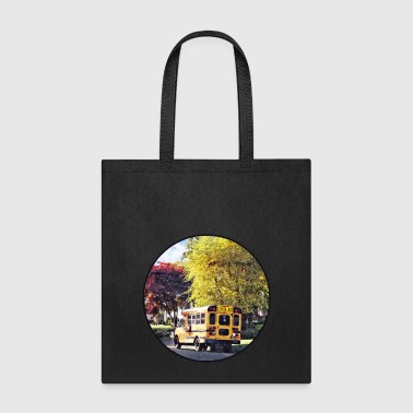 Parked School Bus In Autu - Tote Bag