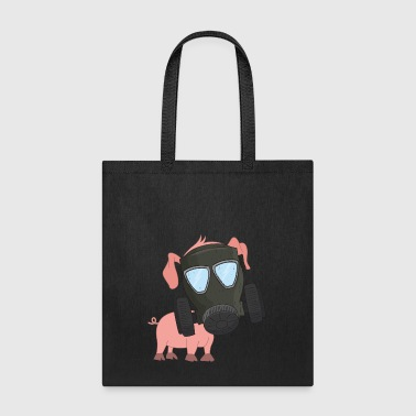 Pig with gas mask Air pollution - Tote Bag