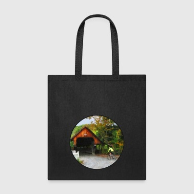 Bicyclist racing toward Middle Bridge in Woodstock - Tote Bag
