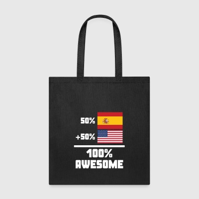 50% Spanish 50% American 100% Awesome Funny Flag - Tote Bag