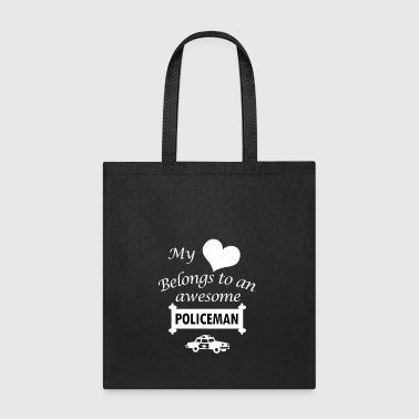Policeman Job Love Gift-My Heart-Birthday Present - Tote Bag