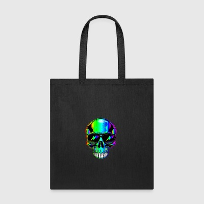 edm neon Skull with lightning bolts in sunglasses - Tote Bag