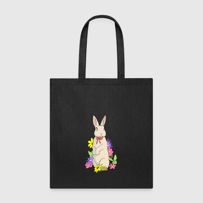 Cute rabbit in a colorful flower meadow bunny - Tote Bag