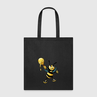 Yellow Black Honey Bee Cute Comic Style - Tote Bag