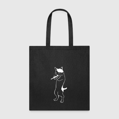 Flute - cat playing flute - Tote Bag