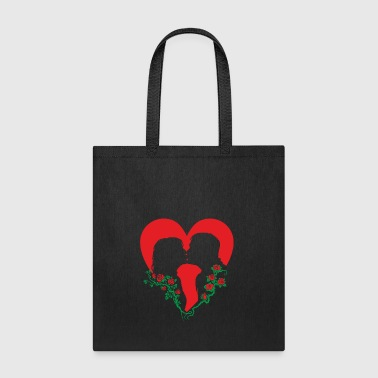 Love, kisses, heart and red roses for lovers - Tote Bag