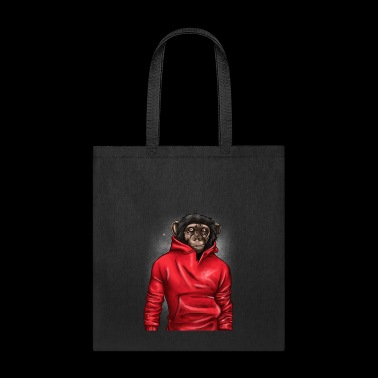 Monkey Wearing A Red Hoodie Animal Lover Graphic - Tote Bag