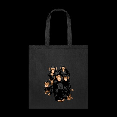 Five Cute Monkey's T-Shirt - Funny Little Ape - Tote Bag