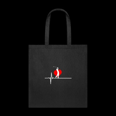 Heartbeat red Heart Love Golf Sports friends gift - Tote Bag