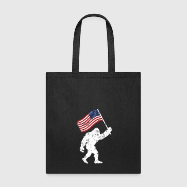 Bigfoot 4th Of July Shirts Flag Patriotic USA - Tote Bag