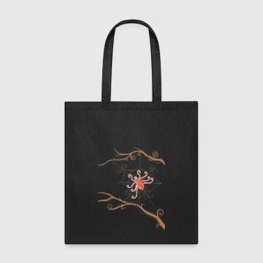 Red spider on web - Tote Bag