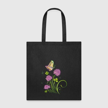 Summer meadow with clover and colorful butterfly. - Tote Bag