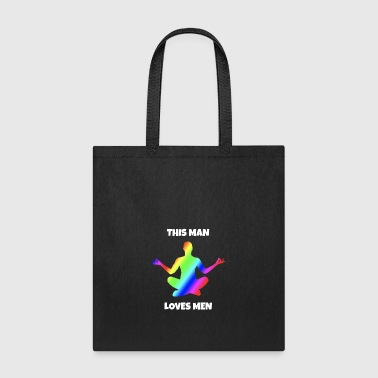 This Man loves Men rainbow colors gay men - Tote Bag