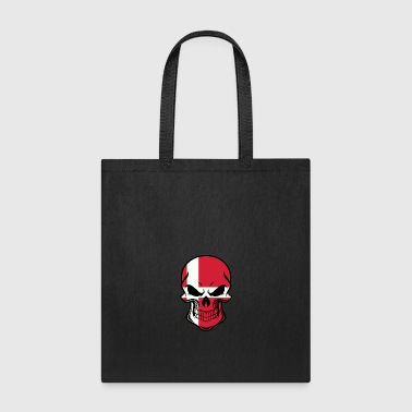 Danish Flag Skull - Tote Bag
