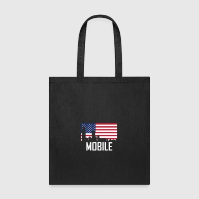 Mobile Alabama Skyline American Flag - Tote Bag