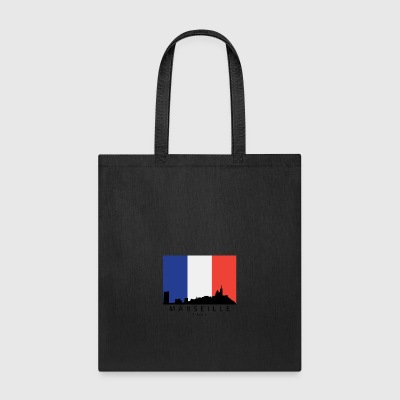 Marseille France Skyline French Flag - Tote Bag