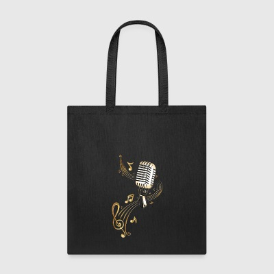 Retro microphone with music notes and clef. - Tote Bag