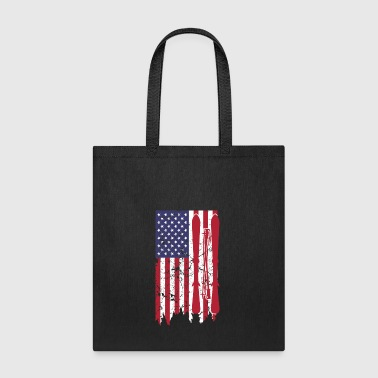 US flag with skis and ski poles as stripes - Tote Bag