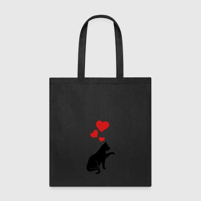cat with hearts - Tote Bag