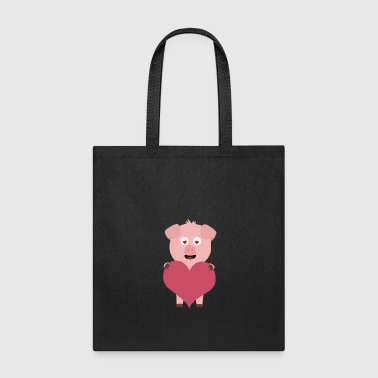Pig with big Heart for Valentine Gift - Tote Bag