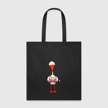 Stork Twins Baby Babies Girls Pregnancy Daughter - Tote Bag