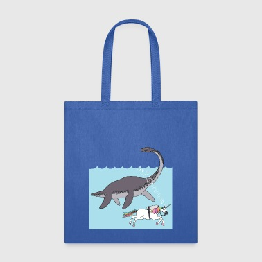 unicorn swimming with loch ness monster - Tote Bag