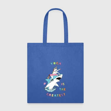 Yoga Is The Greatest Unicorn Riding Shark - Tote Bag