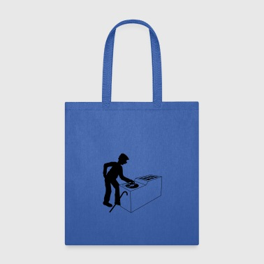 party music hang up dj club disco plate vinyl mixe - Tote Bag