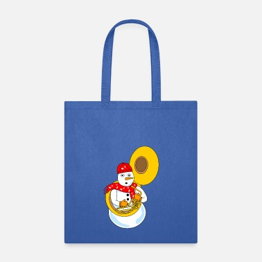 Music Note &amp Tuba Snowman - Tote Bag