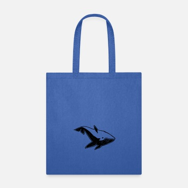 A whale under the water - rubber stamp - Tote Bag