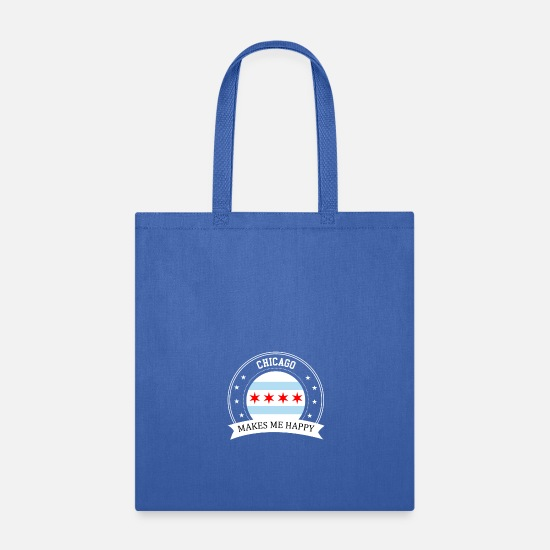 Chicago Bags & Backpacks - Chicago Makes Me Happy - Tote Bag royal blue