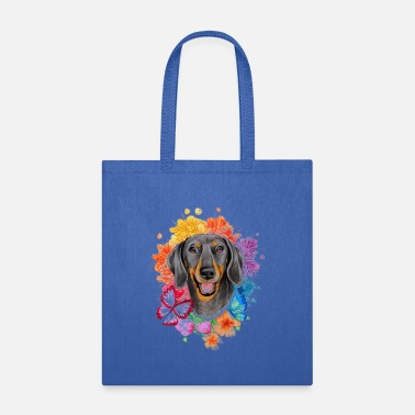 Wiener The Butterfly Flower And Dachshund - Tote Bag