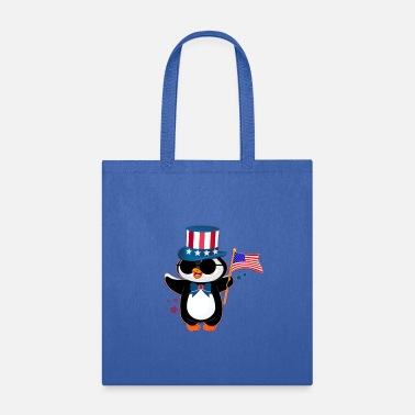 Patriotic America Retro Penguin For 4th of July - Tote Bag