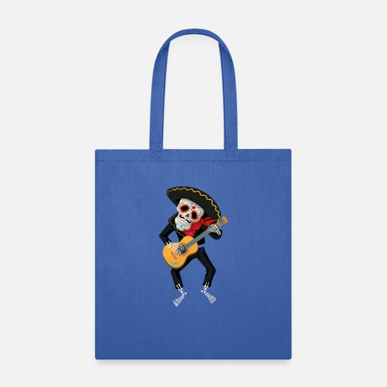 Cat Bags & Backpacks - Sugar Skull Skeleton With Sombrero Playing the - Tote Bag royal blue