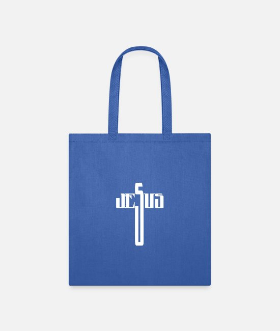 Bible Study Bags & Backpacks - Jesus, Cross, Name, Christian Design - Tote Bag royal blue