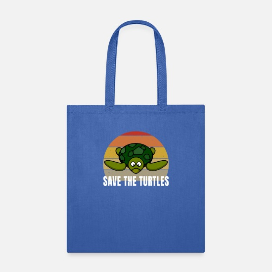 Black Bags & Backpacks - Save The Turtles Vintage Retro Style Distressed - Tote Bag royal blue