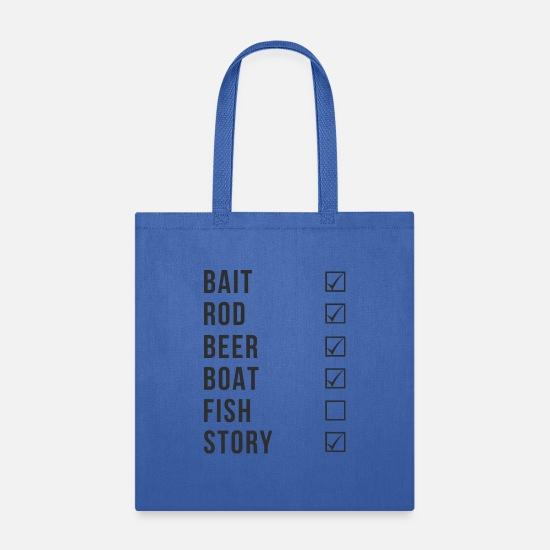 Heartbeat Bags & Backpacks - Fishing Checklist - Tote Bag royal blue